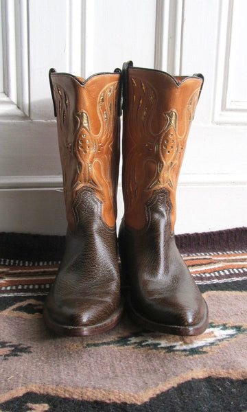SPREAD YOUR WINGS 1960s Acme Two Tone & Gold Foil Inlay Men's Western Boots, Sz 12