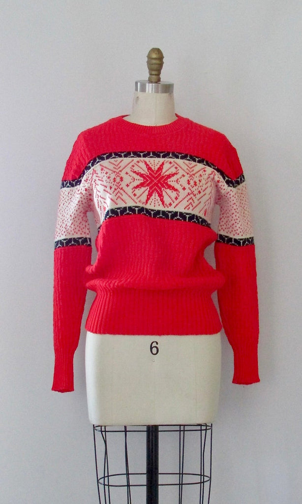 NEW YORK 1960s Sportswear Snowflake Pullover Sweater Top, Mens Small
