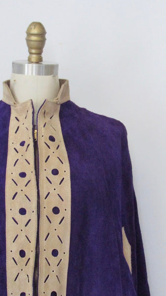HOW SUEDE IT 1960s Purple Leather Poncho, Sz Small/Med