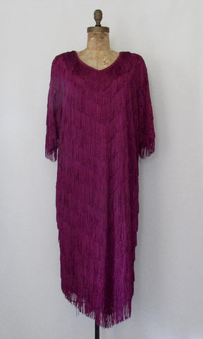 FRINGE BENEFITS 1980s does 20s Fuchsia Dress by Chez California, Sz X-Large