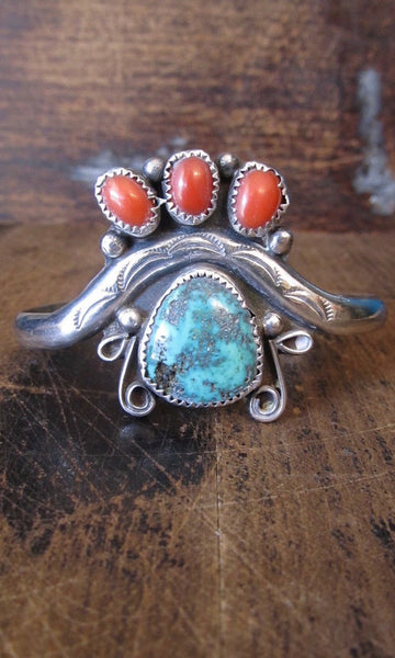 INDIAN SUMMER Silver, Coral, and Turquoise Southwestern Cuff