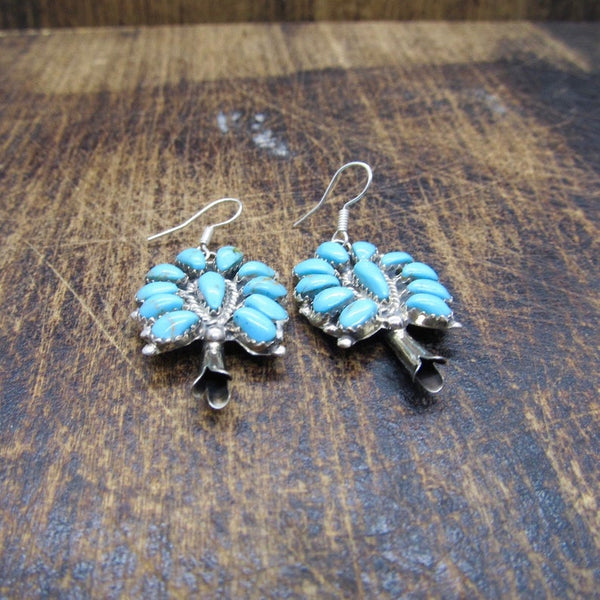 PAM BENALLY Silver & Turquoise Petit Point Navajo Cluster Earrings