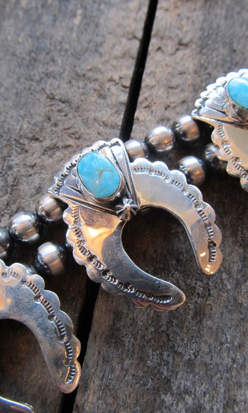 BEST OF THE WEST Silver and Turquoise Naja Squash Blossom Necklace