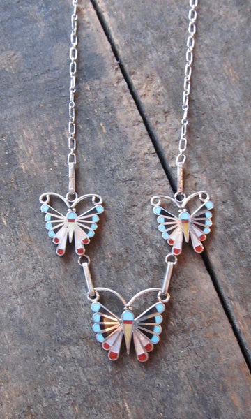 SOCIAL BUTTERFLY Silver Zuni Multi Inlay Butterfly Necklace