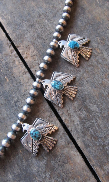THUNDERBIRD Sterling Silver & Turquoise Squash Blossom Necklace