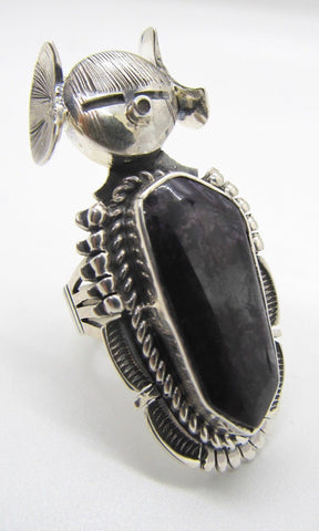 BENNIE RATION Kachina Silver and Charoite Ring, Sz 8