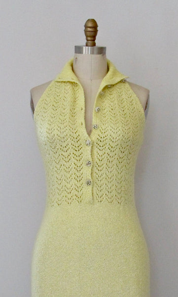 MELLOW YELLOW 1970s Open Knit Sweater Maxi Dress by St John Knits, Sz Small/Med