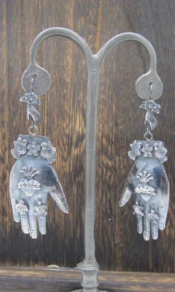 HANDS ON Federico Jimenez Mexican Silver Protective Hands Earrings