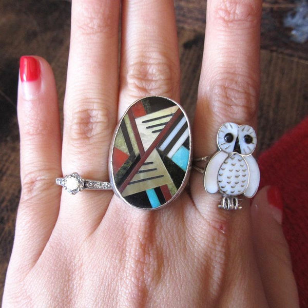 RING A DING Vintage Zuni Turquoise Jet Mother of Pearl & Coral Inlay Mens Ring, Sz 10