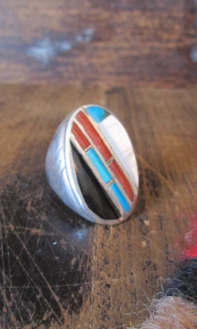 RING A DING Vintage Mens Turquoise Jet, Mother of Pearl, and Coral Ring, Sz 11 1/2