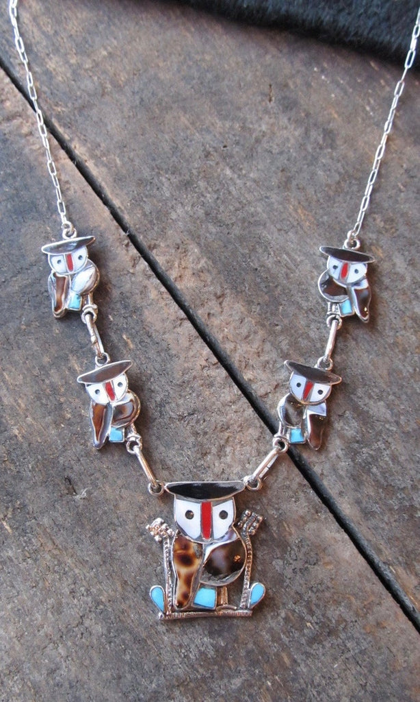 WISE OWL Silver & Multi Inlay Owl Zuni Necklace