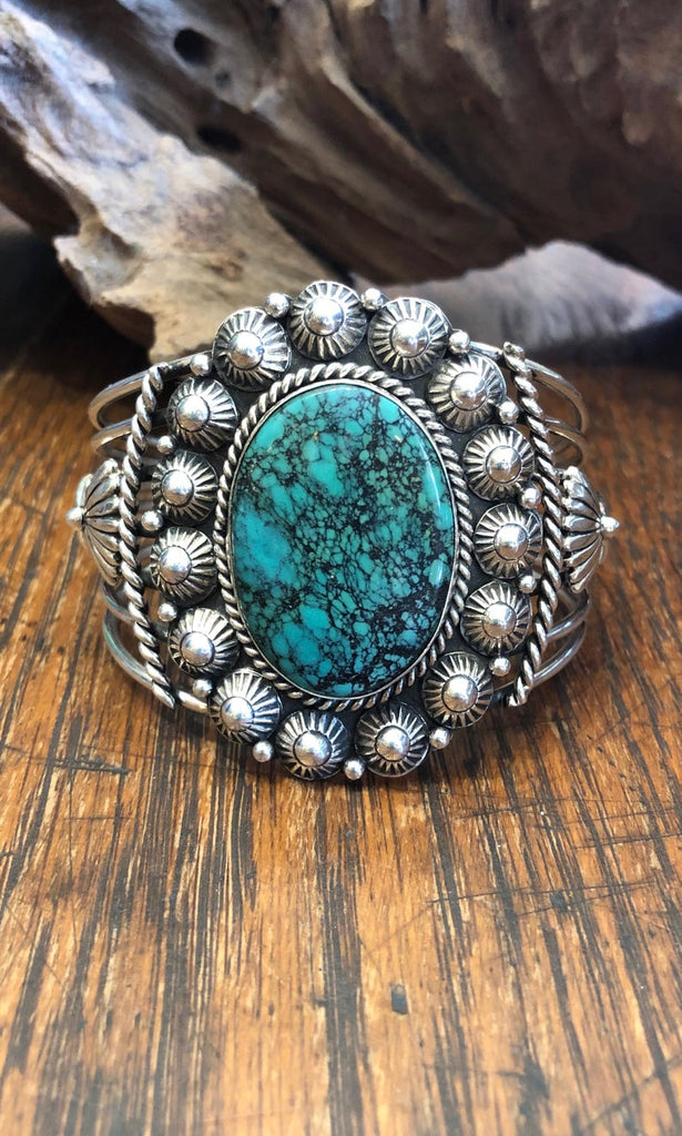 SOUTHWEST CHARMER E Richards Navajo Hogan Beads Silver & Turquoise Cuff