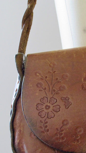 FLOWER CHILD Vintage 70s Hand Tooled Leather Shoulder Bag