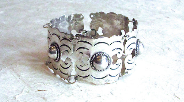 Vintage 40s Bracelet | 1940s Mexican Silver Aztec Geo Link Silver | Mexico, Signed Jewelry Mayan Southwest Boho, VlV Rockabilly