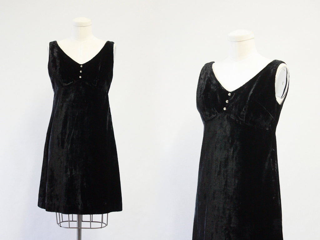 Vintage 60s Dress | 1960s Mini Cocktail Dress with Rhinestone Buttons by California Sophisticates | Hippie, Boho | Size Small