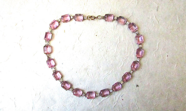 Vintage 1930s Lilac Glass Necklace | Glass Rhinestone Necklace | Art Deco, Cocktail, Historical, Gatsby, Downton Abbey