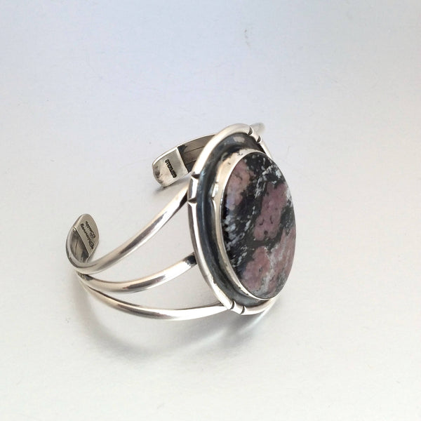 Vintage Style Bracelet | Navajo Sterling Silver & Rhodonite Cuff by Chimney Butte | Native American Jewelry, Western, Boho Hipster Hippie