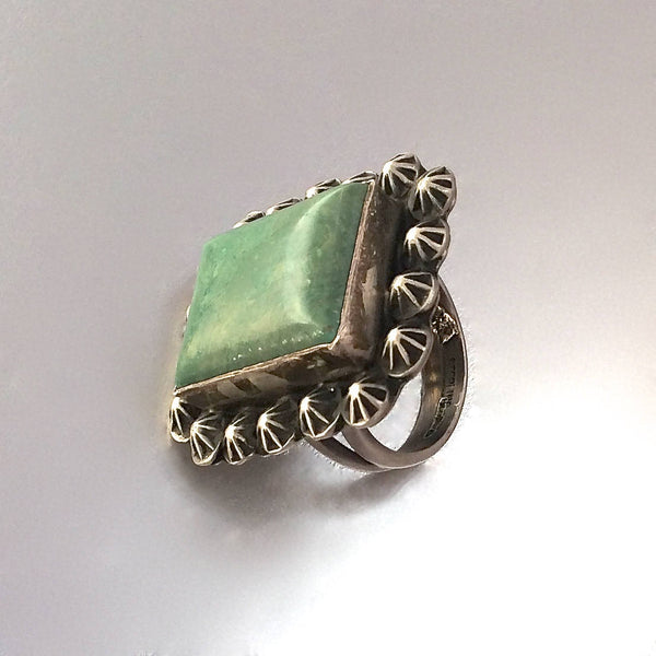 Navajo Style Square Green Turquoise Ring, Sz 7