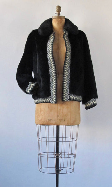 Vintage 60s Lilli Ann Jacket | 1960s Black Faux Fur Coat with Woven Trim | Designer, Glam, Mod, Mad Men | Size Medium