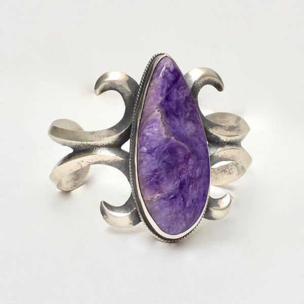 Navajo Sterling Bracelet | Sterling & Russian Charoite Cuff by Chimney Butte | Native American Indian Jewelry, Southwest Boho, Vintage Style