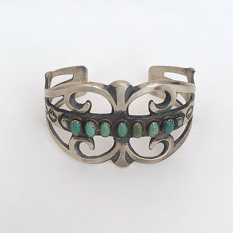 SOUTHWEST STUNNER Navajo Sterling Silver & Turquoise Cuff by Martha Cayatineto