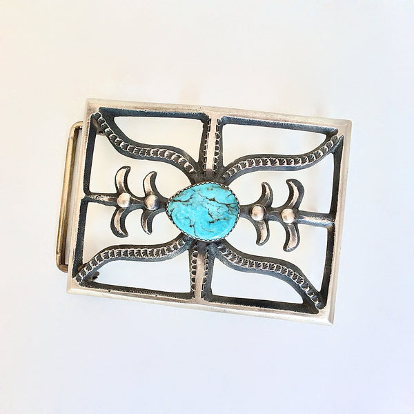 BUCKLE UP Navajo Sand Cast Silver & Turquoise Belt Buckle by Martha Cayatinto MC