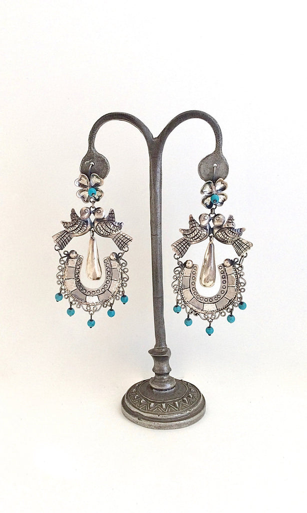 CHANNEL YOUR INNER FRIDA Silver and Turquoise Love Bird Chandelier Earrings