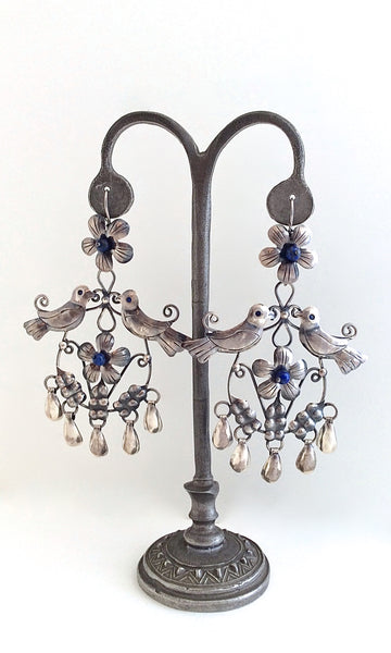 LOVEBIRDS Mexican Silver and Lapis Earrings