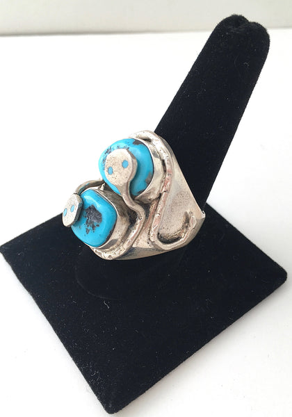 SNAKE CHARMER Zuni Silver Ring by Jude Candelaria, Sz 10