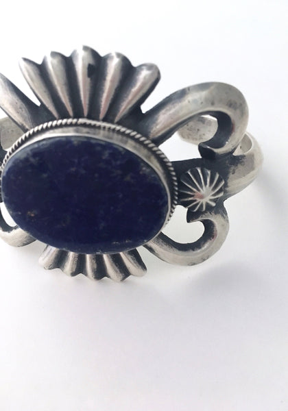 TRUE BLUE Sand Cast Silver & Blue Lapis Cuff by Chimney Butte