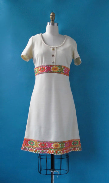 FASHIONABLE FOLK 1960s Double Knit A Line Floral Embroidery Dress, Sz Small/ Med