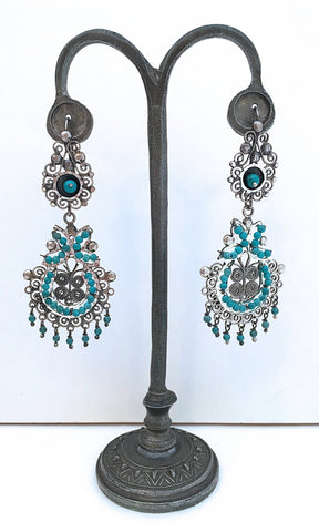 FRIDA KAHLO Sterling Filigree and Beaded Turquoise Earrings
