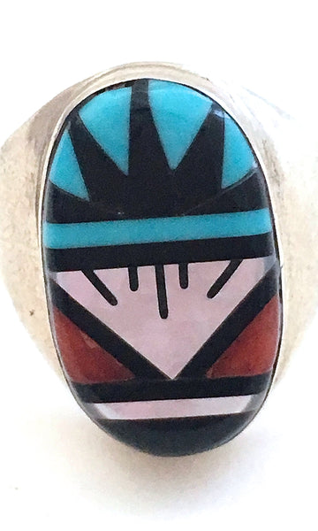 ZUNI Turquoise, Jet, Mother of Pearl, & Coral Ring by Larry Leslie, Sz 12