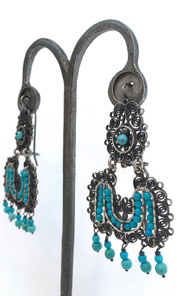 FEDERICO JIMENEZ Oaxaca Filigree Sterling and Turquoise Earrings