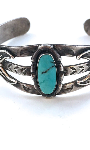 BELL TRADING POST 1950s Native American Sterling Silver & Turquoise Cuff