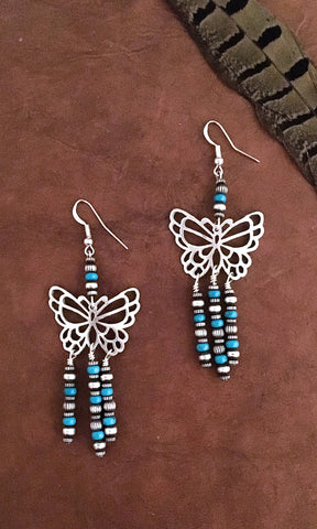 BUTTERFLY EFFECT Butterfly Silver & Turquoise Bead Fringe Earrings