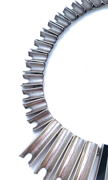 SILVER RUSH 1980s Mexican Silver Spike and Black Onyx Necklace Collar Choker