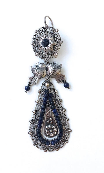 LOVEBIRDS Mexican Silver & Lapis Chandelier Earrings