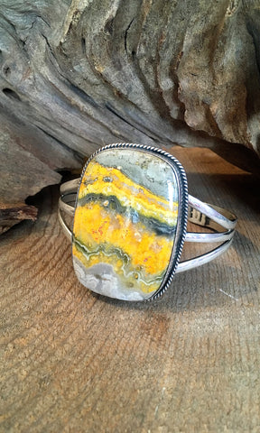 BUMBLE BEE JASPER Large Silver Navajo Cuff by Chimney Butte