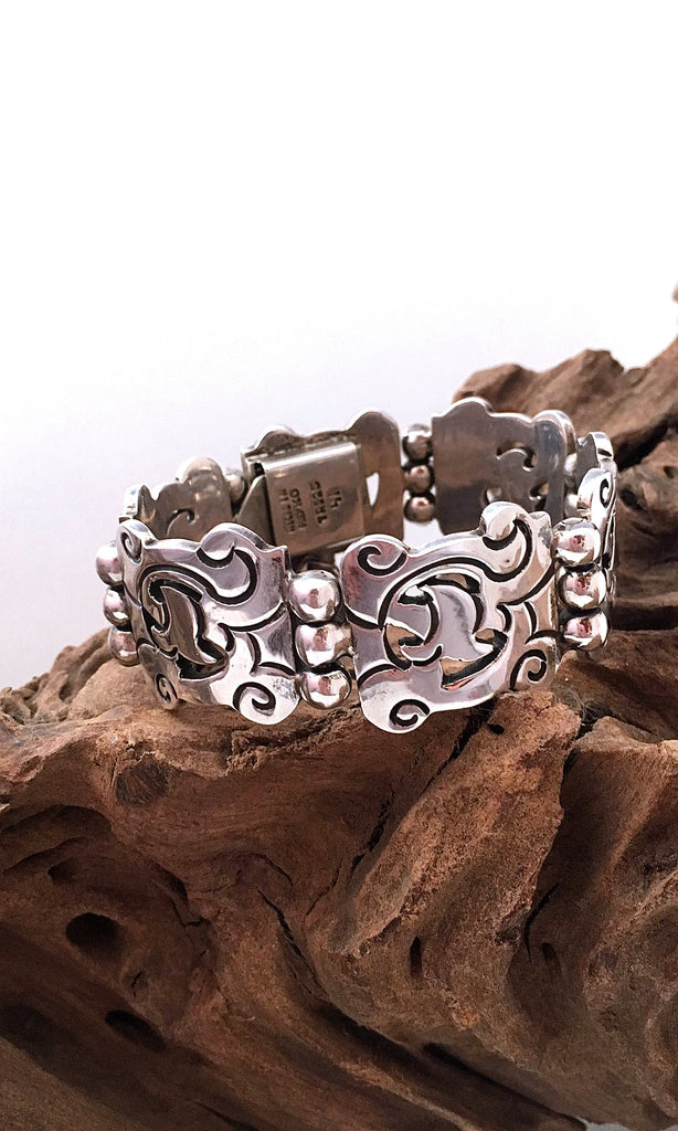HEAVY METAL 1970s Mexican Sterling Silver Bracelet