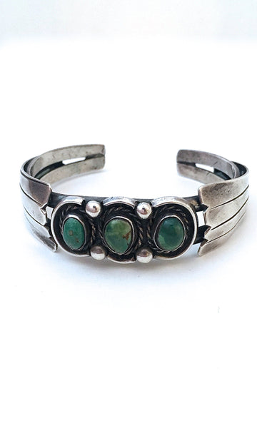 THREE'S COMPANY 1970s Silver & Green Turquoise Shadow Box Cuff
