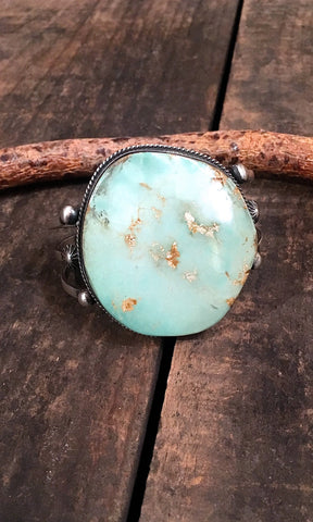 ROUND HERE Large Royston Turquoise & Silver Cuff by Chimney Butte