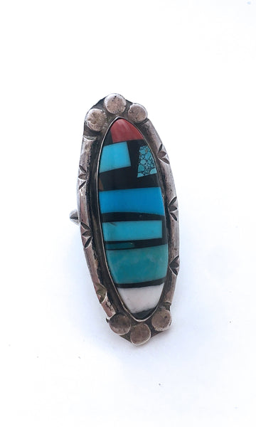 RING IT ON 1970s Large Silver Ring w/ Turquoise Onyx & Coral Inlay, Sz 10 1/2