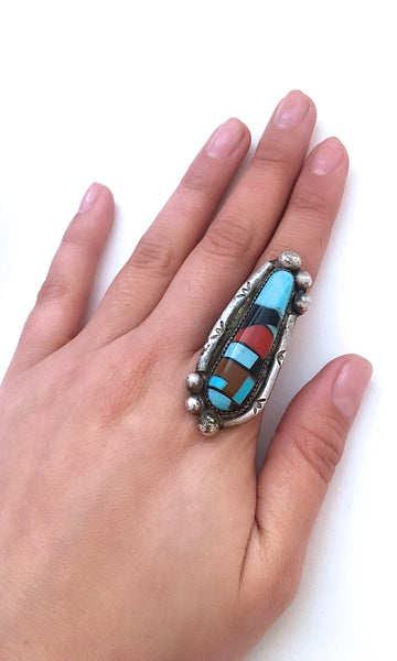 ABSTRACT MOSAIC 1960s Large Silver Mosaic Statement Ring, Sz 9