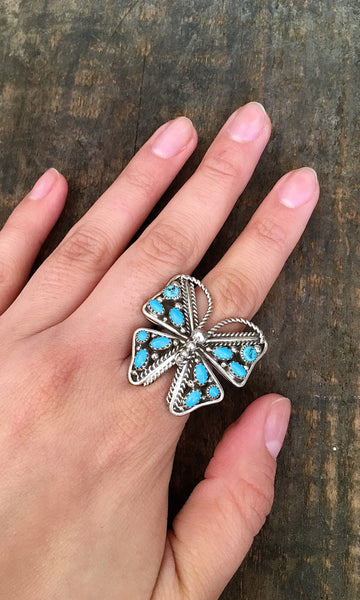 BUTTERFLY EFFECT Navajo Silver & Turquoise Cluster Ring