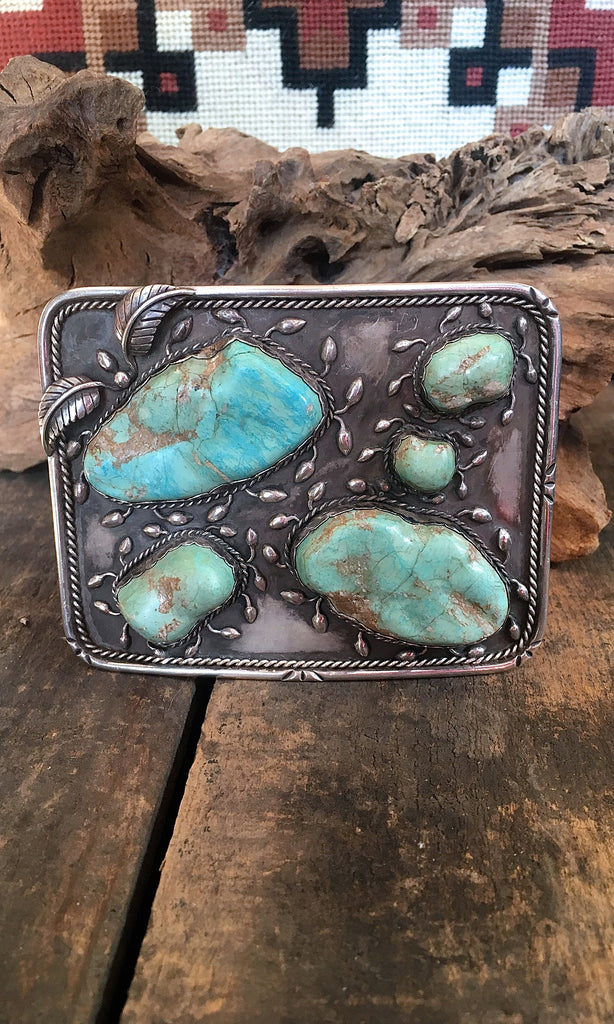 SUPER SIZE ME 1970s Large Silver & Turquoise Belt Buckle 210g