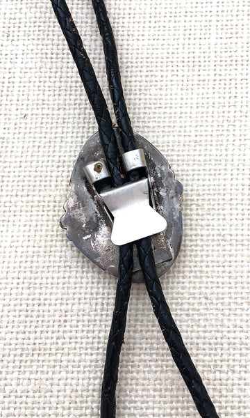 SOUTH BY SOUTHWEST Vintage Silver & Turquoise Bolo Tie with Leather Cord