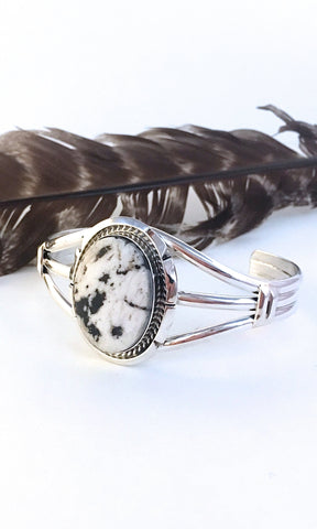 WHITE BUFFALO Navajo A L White Turquoise & Sterling Cuff