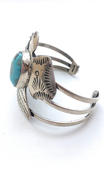 THUNDERBIRD Silver & Turquoise Large Cuff by Chimney Butte