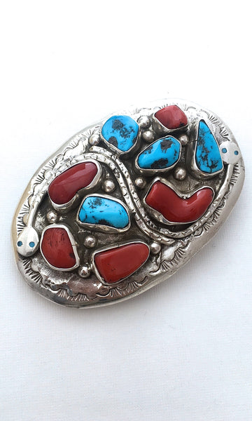 SNAKE CHARMER Silver, Turquoise, & Coral Zuni Belt Buckle